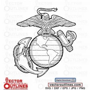 Semper Fidelis insignia US Marine Eagle Globe and Anchor logo vector svg dxf cnc cutting file