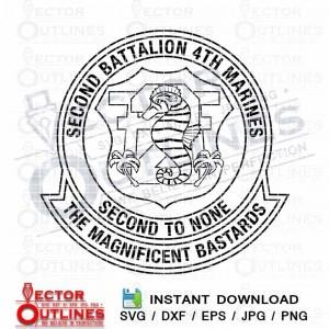 2nd Battalion 4th Marines svg insignia patch logo black white vector 2-4 marine emblem outline monogram cnc cut file