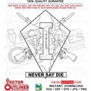 Never Say Die. red eye parachute log emblem patch dvg vectorcnc laser cut file