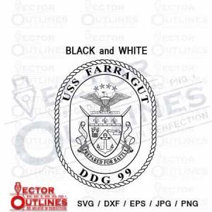 USS Farragut DDG 99 Patch insignia badge svg cnc vector cut file black white