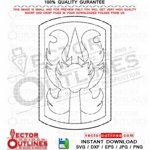 Army 199th Brigade Insignia SVG, DXF, Vector Patch, Badge, Logo Emblem, Monogram Outline Vinyl Cut CNC Laser cut file, Cricut SVG Engraving file