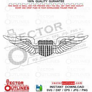 Air Force Pilot Wings Insignia vector svg Cut file for CNC laser cut, CNC Router toolpath, vinyl cut, laser engraving, Cricut Svg file