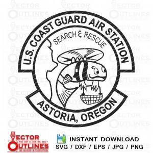 USCG AS Astoria Coast Guard Air Station emblem Oregon Vector svg cricut
