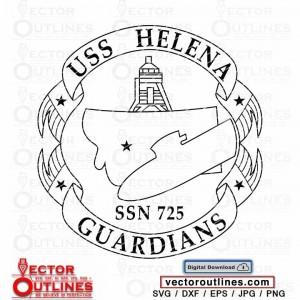 SSN 725 USS HELENA Submarine svg Logo Insignia patch vector cnc laser cricut file