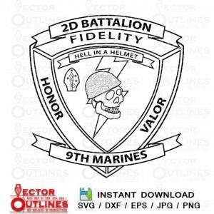 USMC 29 2nd Battalion 9th Marine vector svg dxf wood engraving cnc cut file
