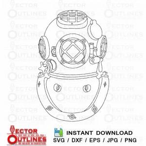 Marine Dive Helmet USMC Vector Logo Svg Dxf CNC Laser Vinyl Wood Cutting file