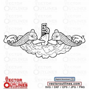 SVG Logo of Navy Submarine Insignia vector Marine submarine Dolphin cnc cricut laser vinyl cutting file