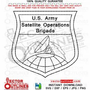 US Army Satellite Operations Brigade Emblem Svg Insignia Vector Patch Dxf Cnc Cut File, Laser Cut, Cricut Svg, Vinyl Cut, Svg Engraving File