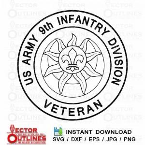 US ARMY 9th INFANTRY DIVISION logo Vector svg cnc cricut vinyl cut insignia emblem laser engraving